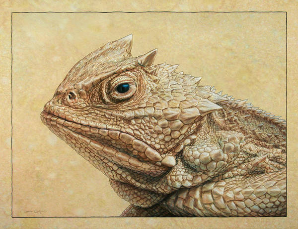 Horned Toad Art Print featuring the painting Horned Toad by James W Johnson
