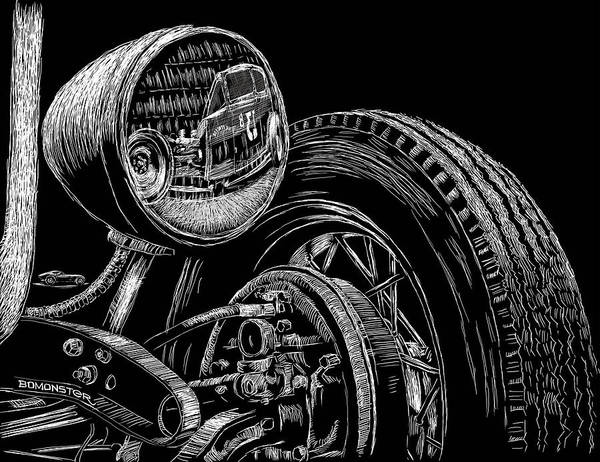 Lowbrow Art Print featuring the drawing Hot Rod Bob by Bomonster