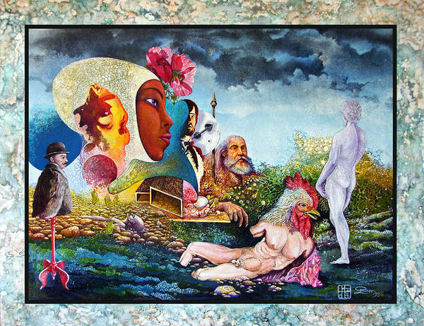 Surrealism Art Print featuring the mixed media Hour Of The Cock by Otto Rapp
