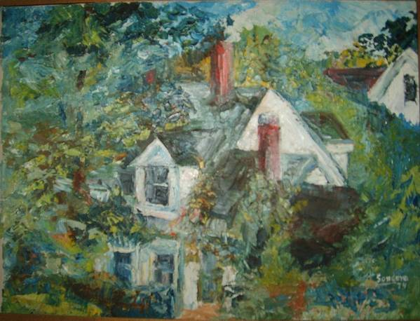 Landscape Trees House Art Print featuring the painting House In Gorham by Joseph Sandora Jr