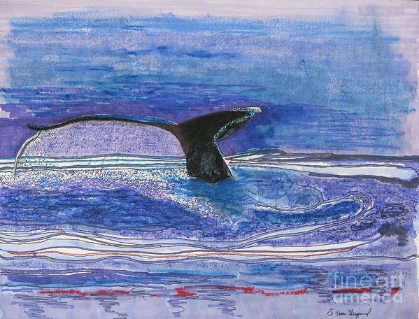 Humpback From Hawaii Art Print featuring the mixed media Humpback Hello by James SheppardIII
