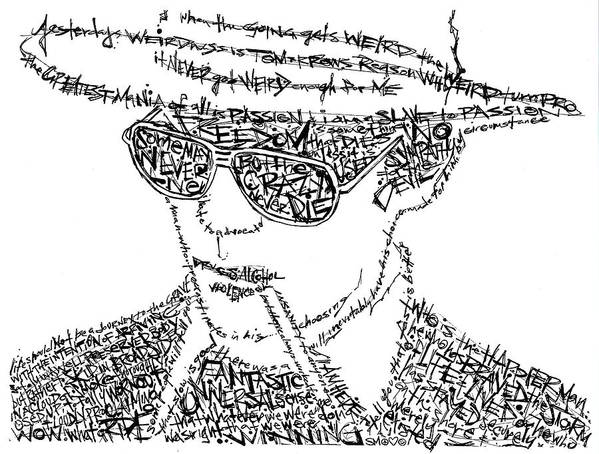 Hunter Thompson Art Print featuring the drawing Hunter S. Thompson Black And White Word Portrait by Kato Smock