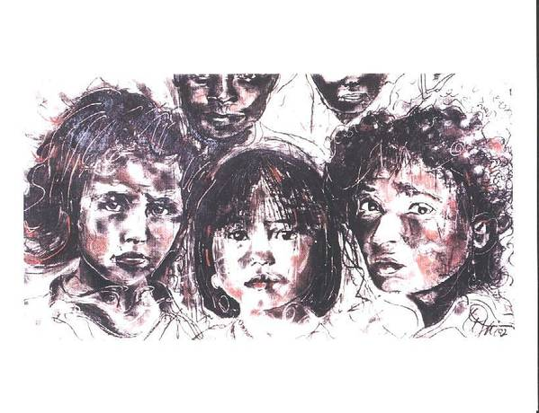 Children Art Print featuring the drawing I See The Future... by Lynn Gray
