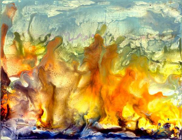 Encaustic Art Print featuring the painting If Flames Could Speak by Heather Hennick