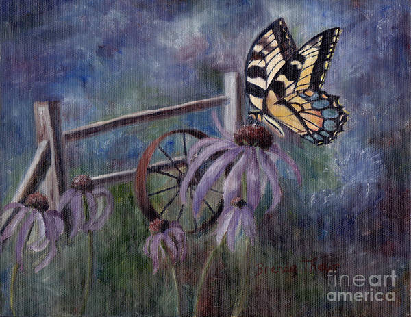 Butterfly Art Print featuring the painting In The Garden by Brenda Thour