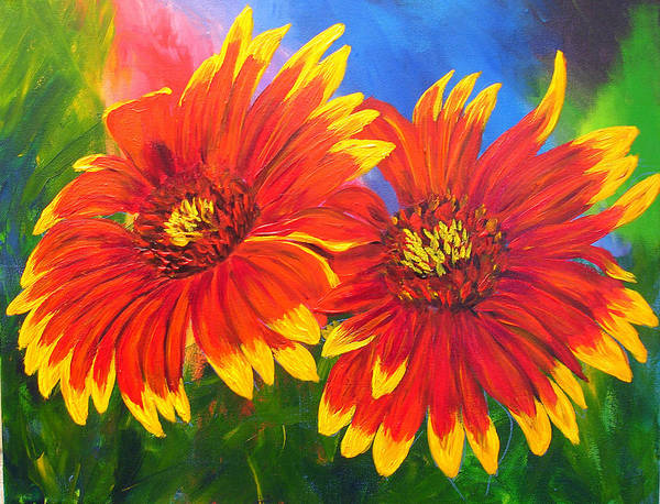 Flowers Art Print featuring the painting Indian Blanket Flowers by Mary Jo Zorad