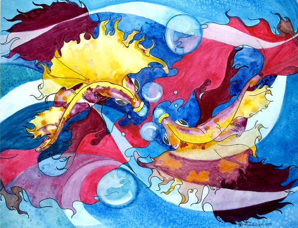 Joyce Hutchinson Art Print featuring the painting Infinite Fishdance by Joyce Hutchinson
