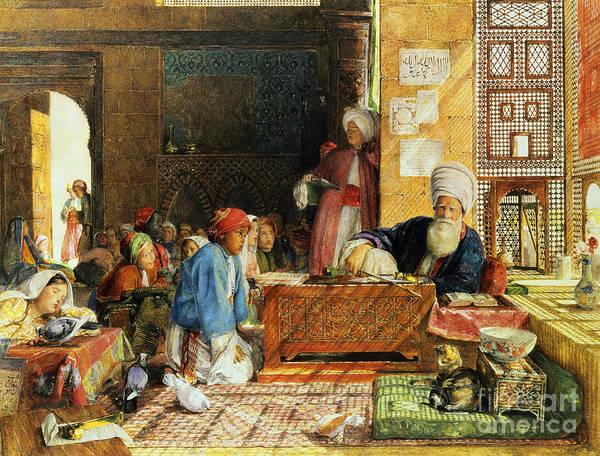 Orientalist; Dove; Classroom; Arab; Imam; Teacher; Pupil; Classroom; Student; Lattice Screen; Cat; Education Art Print featuring the painting Interior Of A School - Cairo by John Frederick Lewis