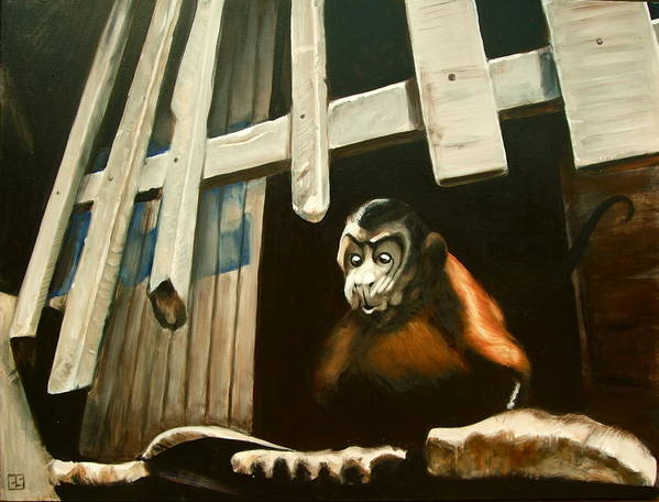 Monkey Art Print featuring the painting Iquitos Monkey by Chris Slaymaker