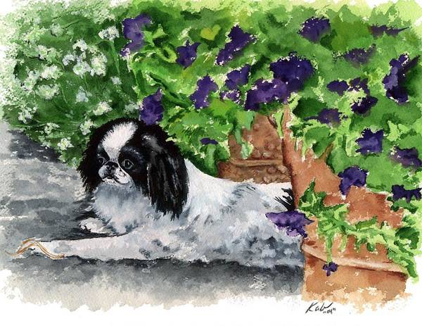 Japanese Chin Art Print featuring the painting Japanese Chin Puppy And Petunias by Kathleen Sepulveda