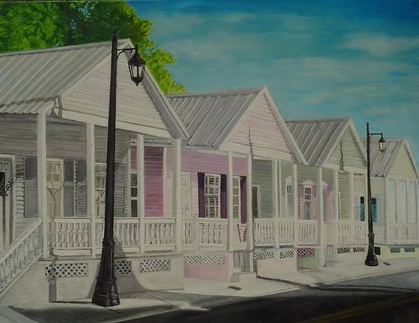 Key West Art Print featuring the painting Key West Cottages by John Schuller
