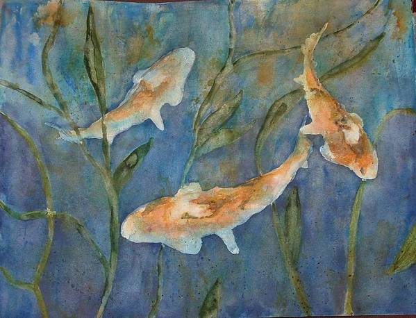 Fish Art Print featuring the painting Koi by Diane Ziemski