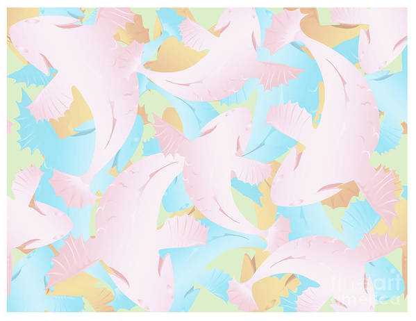 Koi Fish Art Print featuring the digital art Koi Fish Powder Pink - Blue by Joni Warden