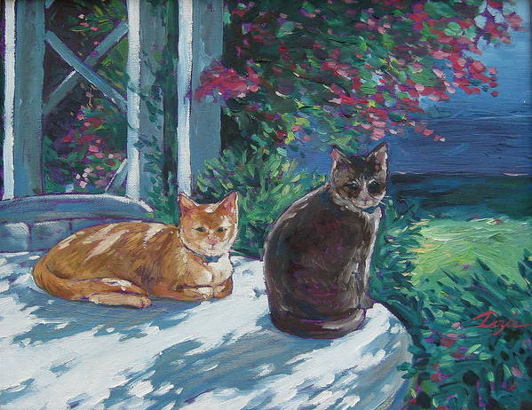 Pet Portraits Art Print featuring the painting Lady And Lucy by Karen Doyle