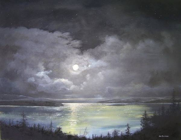 Moonscape Art Print featuring the painting Lake Shore Moonscape by Ken Ahlering