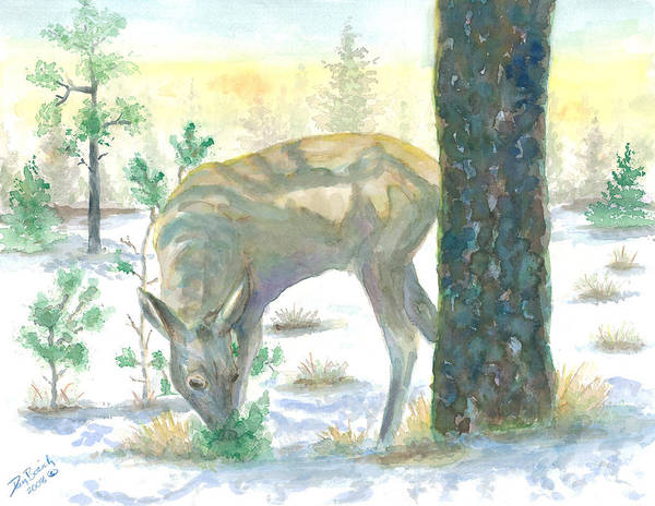 Deer Art Print featuring the painting Last Greens by Dan Bozich