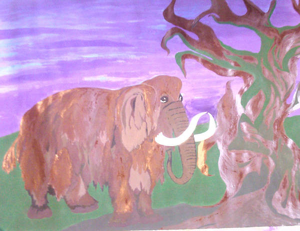 Tree Art Print featuring the painting Last Mammoth by Gerzhot Natalia