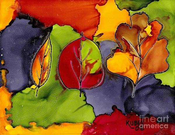 Leaf Art Print featuring the painting Leaf Brilliance by Susan Kubes