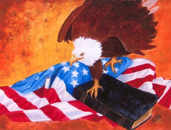 Eagle Art Print featuring the painting Lest We Forget by Lorraine Foster