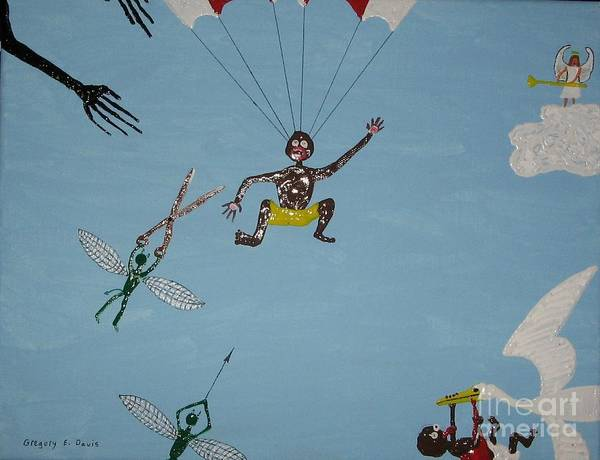 Parachute Art Print featuring the painting Life Happens by Gregory Davis