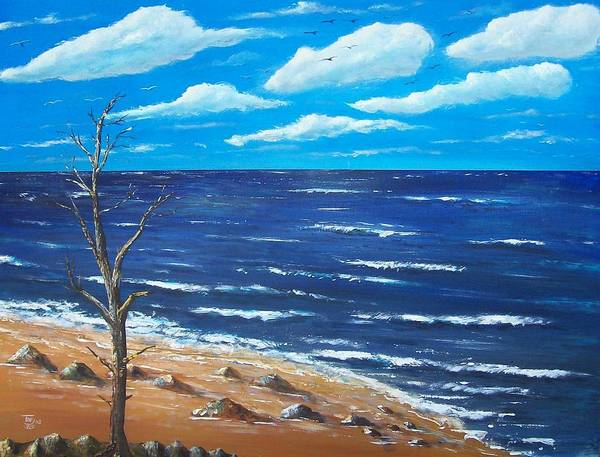 Seascape Art Print featuring the painting Lone Tree Seascape by Tony Rodriguez