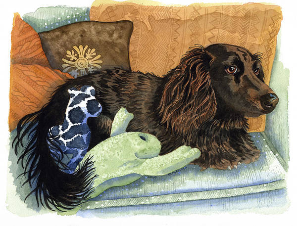 Dogs Art Print featuring the painting Long-haired Dachshund Watercolor by Michele Angel