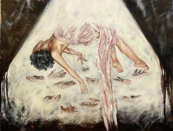Marenart Art Print featuring the painting Love Will Keep Us Alive by Maren Jeskanen