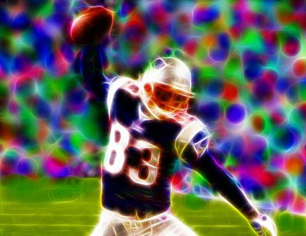 New England Patriots Print featuring the painting Magical Wes Welker by Paul Van Scott