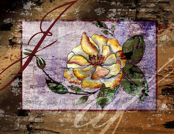 Magnolia Art Print featuring the painting Magnolia In Limbo Dp19 by Mary Gaines
