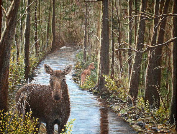 Moose Art Print featuring the painting Mama Moose And Calf by Brenda Baker