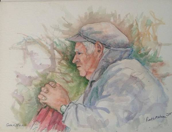 Aran Art Print featuring the painting Man From Aran by Ruth Mabee