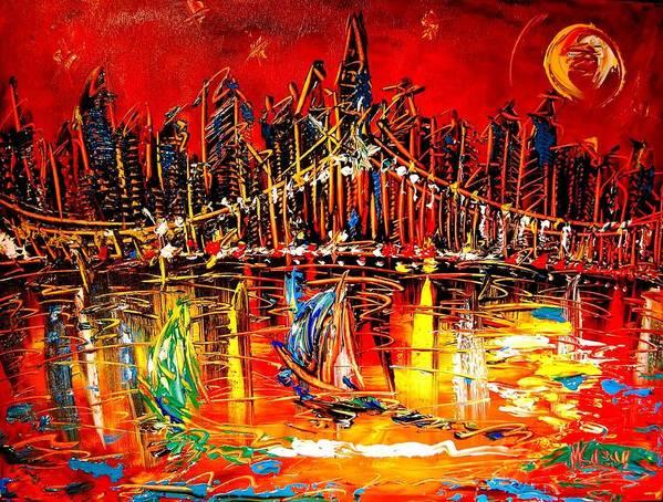 New York Art Print featuring the painting Manhattan Red by Mark Kazav