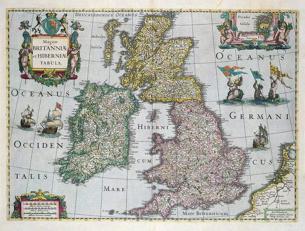 Map Art Print featuring the drawing Map Of Britain by English school