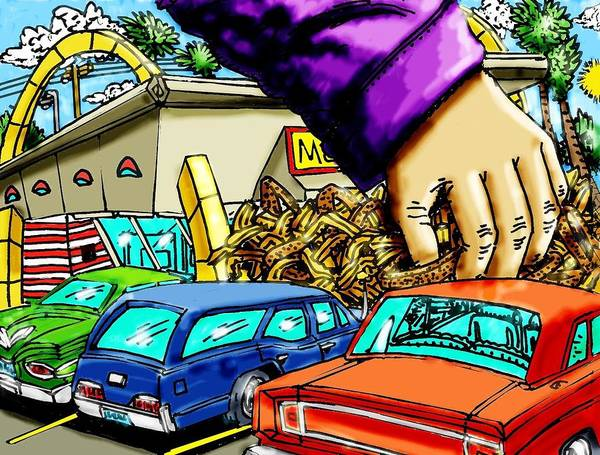 Mcdonalds Art Print featuring the mixed media Mcds Takeout by Gregg Dutcher
