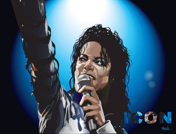 Celebrity Art Art Print featuring the digital art Michael Jackson Icon by Mike Haslam