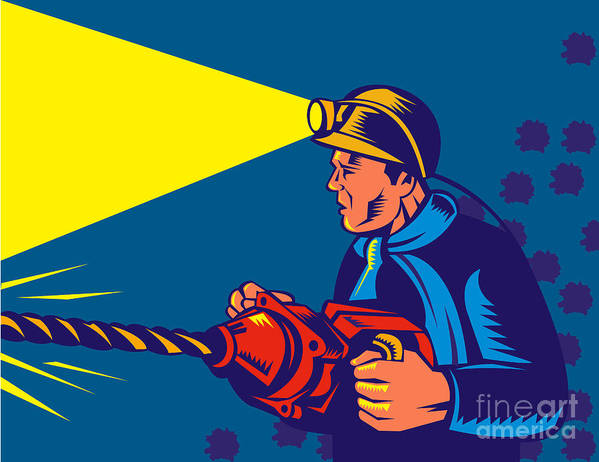 Illustration Art Print featuring the digital art Miner With Jack Drill by Aloysius Patrimonio