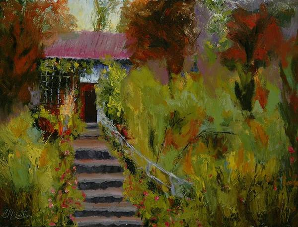 Landscape (framed) Art Print featuring the painting Monet's Garden Cottage by Colleen Murphy