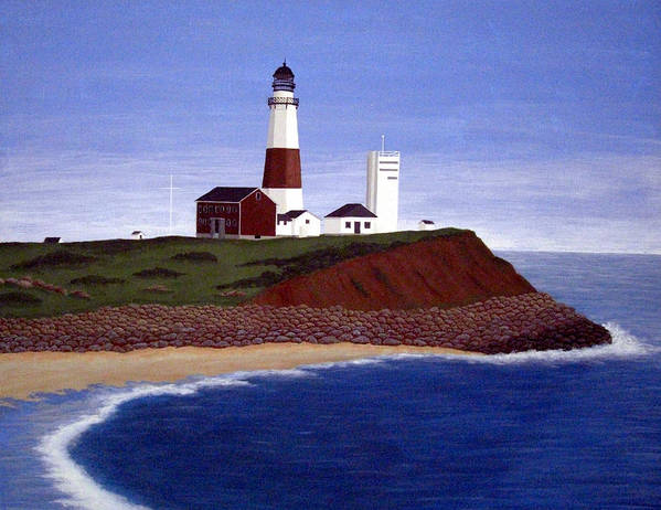 Lighthouse Paintings Art Print featuring the painting Montauk Point Lighthouse by Frederic Kohli
