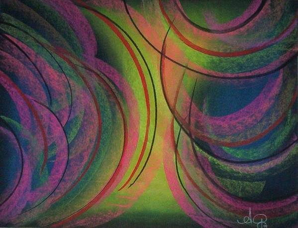 Landscape.angela Art Print featuring the pastel Moodpainting 5- Green With Envy by Angela Mustin