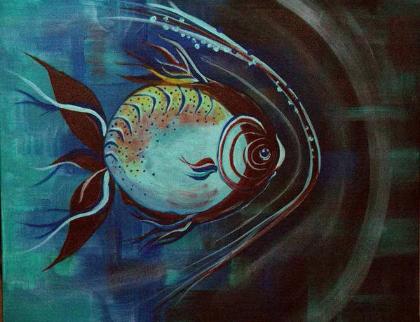 30 Inch Abstract Acrylic Aquatic Art Print featuring the painting Moonie by Linda Powell