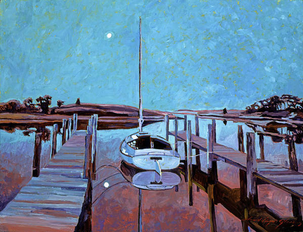 Sailboats Print featuring the painting Moonlight On The Bay by David Lloyd Glover