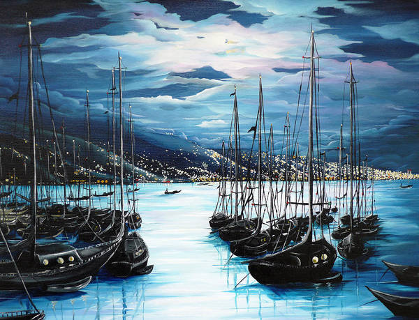 Ocean Painting  Caribbean Seascape Painting Moonlight Painting Yachts Painting Marina Moonlight Port Of Spain Trinidad And Tobago Painting Greeting Card Painting Art Print featuring the painting Moonlight Over Port Of Spain by Karin Dawn Kelshall- Best