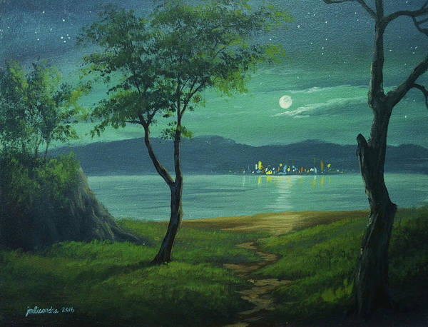 Moonlight Art Print featuring the painting Moonlight Over The Sea by John magne Lisondra