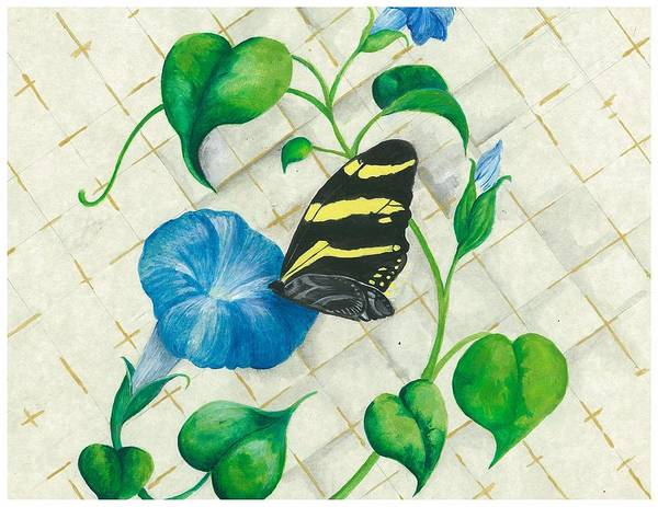 Morning Glories Art Print featuring the painting Morning Glories And Butterfly by Sally Balfany