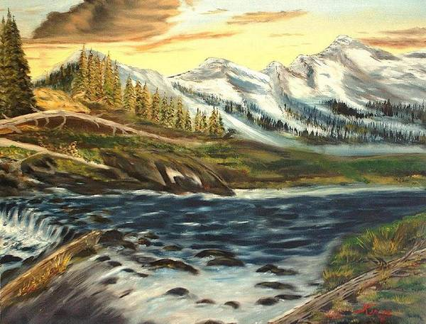 Landscape Art Print featuring the painting Mountain River by Kenneth LePoidevin