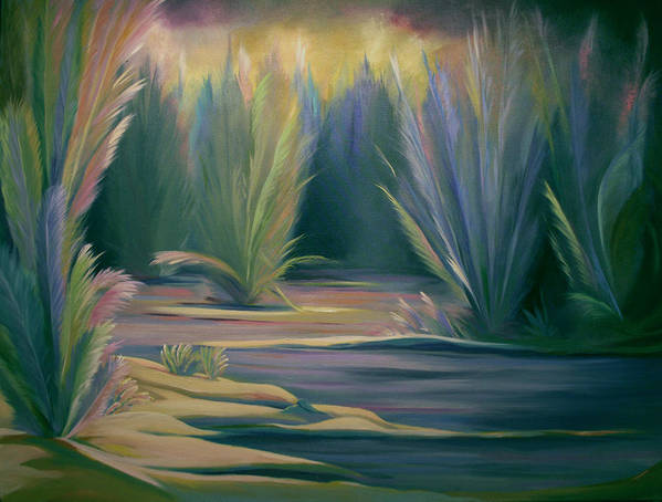 Feathers Art Print featuring the painting Mural Field Of Feathers by Nancy Griswold