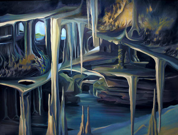 Mural Art Print featuring the painting Mural Ice Monks In November by Nancy Griswold