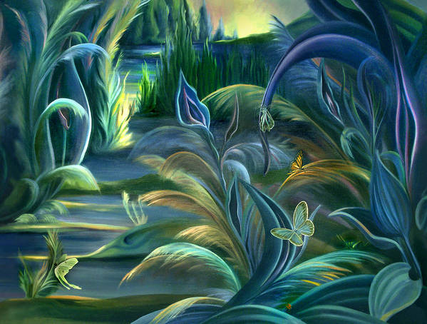 Mural Art Print featuring the painting Mural Insects Of Enchanted Stream by Nancy Griswold