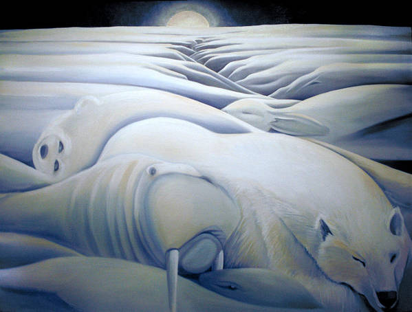 Mural Art Print featuring the painting Mural Winters Embracing Crevice by Nancy Griswold