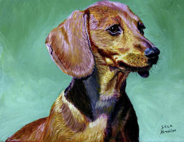 Daschund Art Print featuring the painting My Daschund by Stan Hamilton